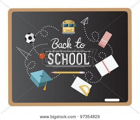 Back to school message surrounded by icons vector on chalkboard