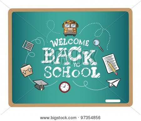 Welcome back to school message surrounded by icons vector on green chalkboard