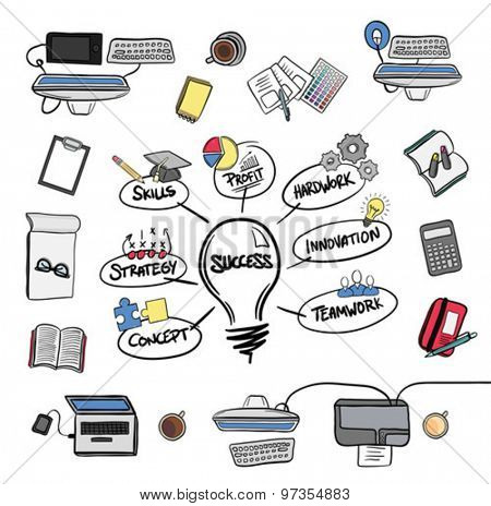 Digitally generated Success brainstorm vector with media devices