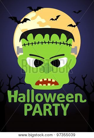 Halloween Party banner with Frankenstein