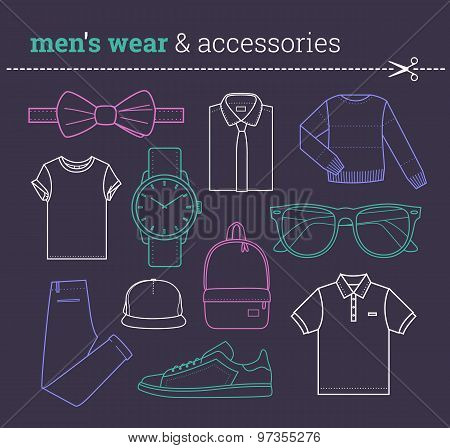 Set of trendy male wear and accessories Lineart