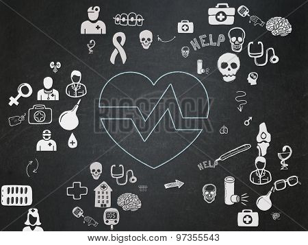 Healthcare concept: Heart on School Board background