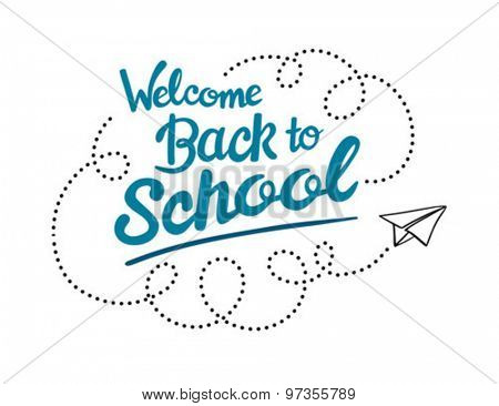 Welcome back to school message with paper plane icon vector against white background