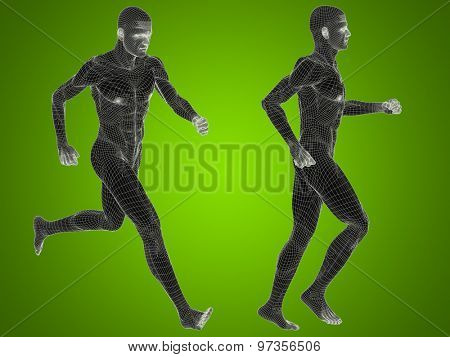 Concept or conceptual 3D human man or male skeleton anatomy transparent body over green gradient background