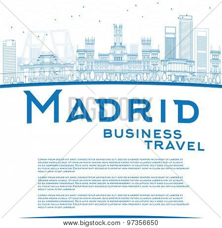 Outline Madrid Skyline with blue buildings and copy space. Business travel concept. Vector illustration