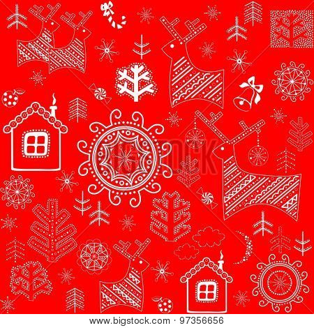 Red wallpaper with winter print