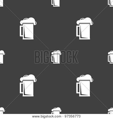 Glass Of Beer Icon Sign. Seamless Pattern On A Gray Background. Vector
