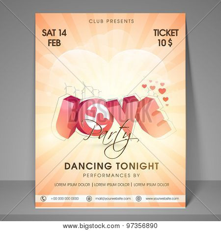 Happy Valentines Day celebration party flyer, banner or template.