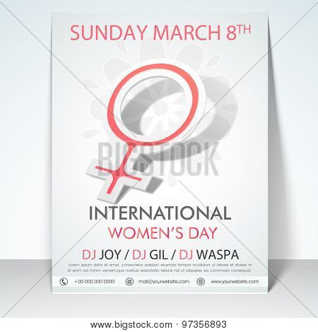 Elegant stylish flyer, banner or template with women's symbol for International Women's Day celebration.