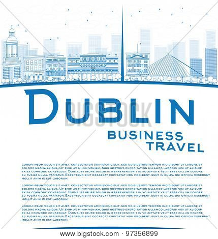 Outline Dublin Skyline with Blue Buildings and copy space. Ireland. Business travel concept. Vector Illustration