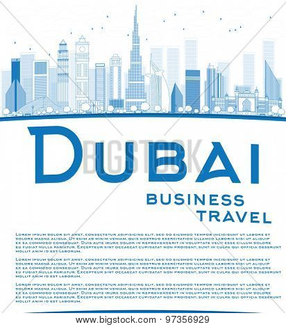 Outline Dubai City skyline with blue skyscrapers and copy space. Business travel concept. Vector illustration