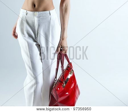 Beautiful Lady  With Red Bag