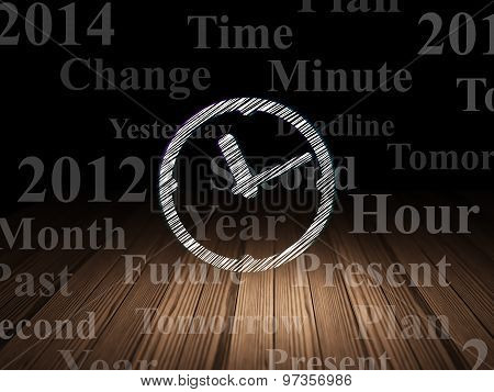 Timeline concept: Clock in grunge dark room
