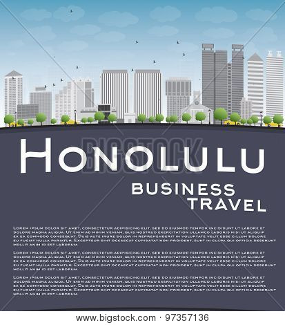 Honolulu Hawaii skyline with grey buildings, blue sky and copy space. Business travel concept. Vector illustration