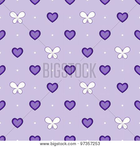 Seamless violet pattern with hearts and butterflies, vector