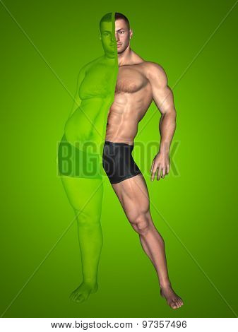 Concept or conceptual 3D fat overweight vs slim fit with muscles young man on diet on green background