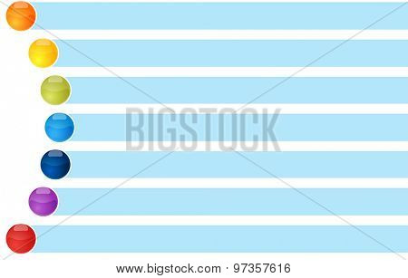 blank business strategy concept infographic diagram curved bullet list items illustration Seven 7