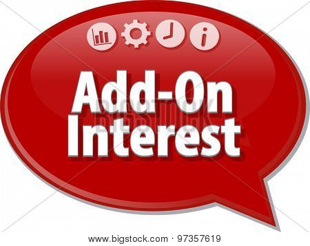 Speech bubble dialog illustration of business term saying Add-On Interest