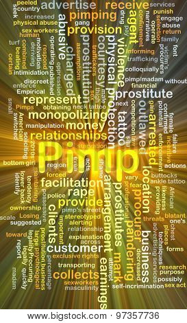 Background concept wordcloud illustration of pimp glowing light