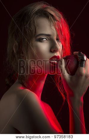 Allure Woman With Red Apple