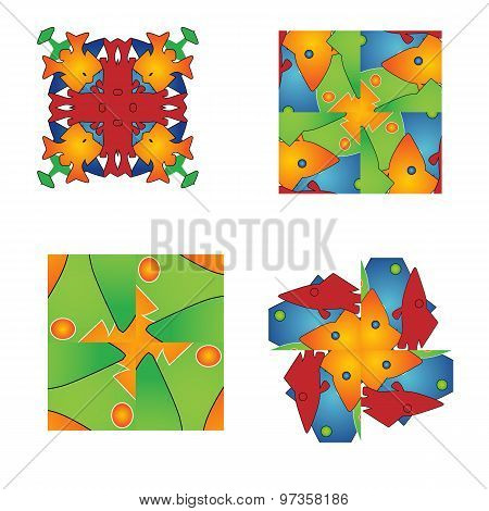 Set Of Abstract Flower Feminine Pattern Textiles