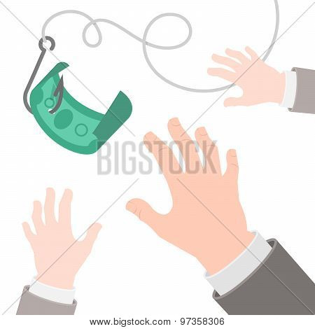 Dollar On A Hook Flat Business Concept