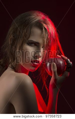 Charming Girl Taking Red Apple