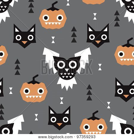 Seamless halloween theme dark pumpkin owls and black cats illustration background pattern in vector