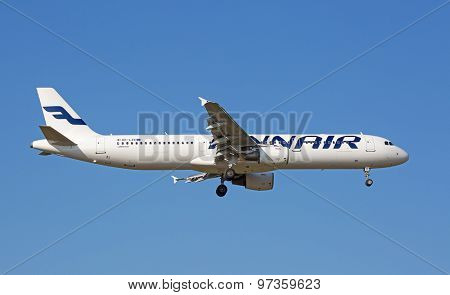 ZURICH - JULY 18: Airbus A-321 Finair landing in Zurich airport after short haul flight on July 18, 2015 in Zurich, Switzerland. Zurich airport is home for Swiss Air and one of the european hubs.