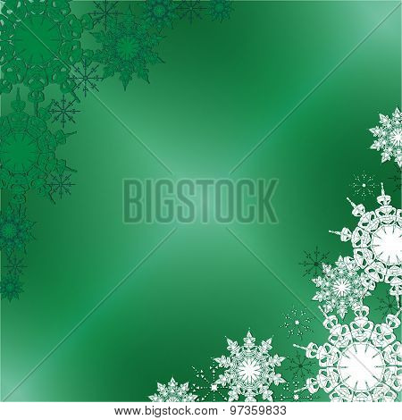 Winter Fine Ornate Snowflakes On The Green Iced Background