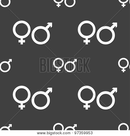 Male And Female Icon Sign. Seamless Pattern On A Gray Background. Vector