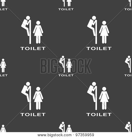 Toilet Icon Sign. Seamless Pattern On A Gray Background. Vector