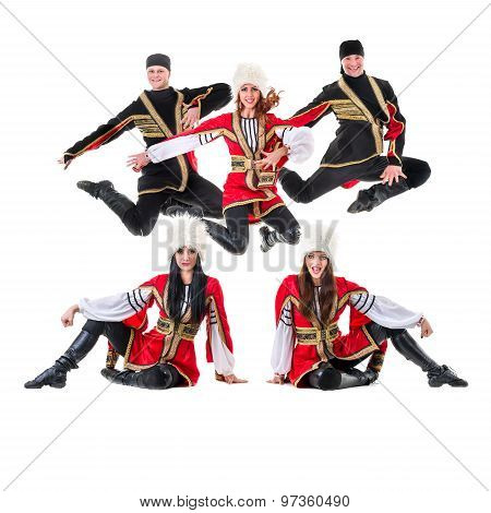 dancer team wearing a folk Caucasian highlander costumes