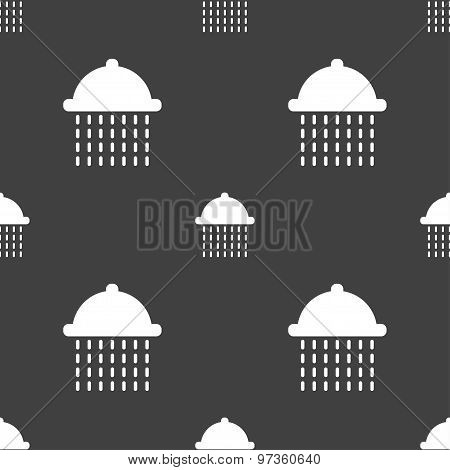 Shower Icon Sign. Seamless Pattern On A Gray Background. Vector