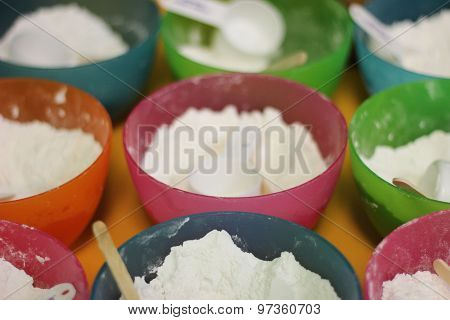 Colorful Cooking Bowls of Flour