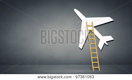 Aircraft boarding bridge concept on blue background