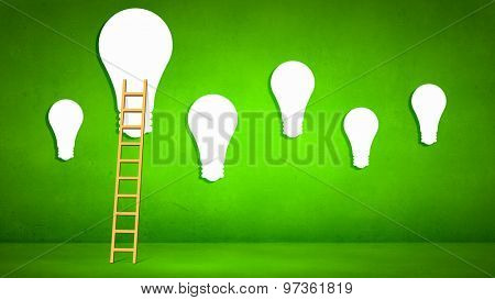 Conceptual image with ladder to light bulb on green backdrop