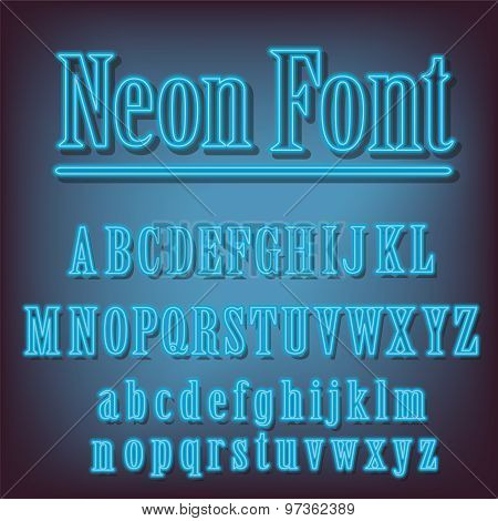 Neon Blue Alphabet.