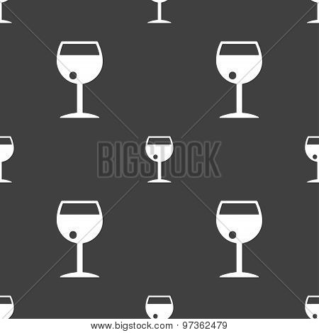 Glass Of Wine Icon Sign. Seamless Pattern On A Gray Background. Vector