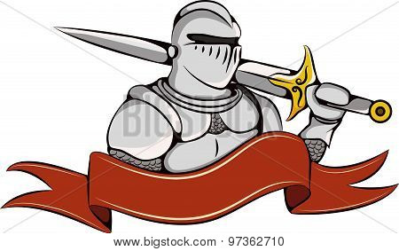 Knight With Sword And Ribbon Logo.