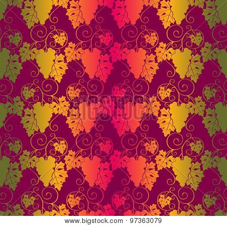 Seamless Pattern With Leaves And Bunches Of Grapes.