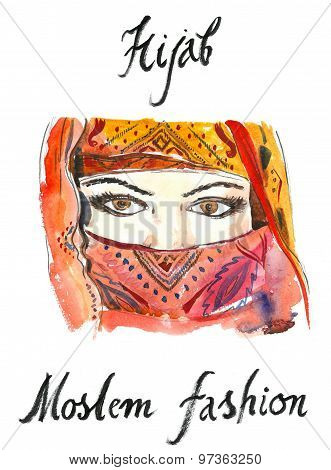 Watercolor Arabian Hijab