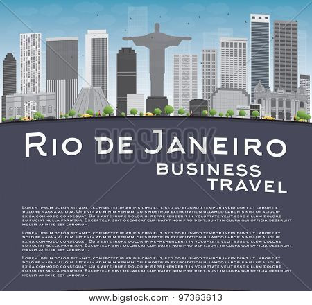 Rio de Janeiro skyline with grey buildings, blue sky and place for text. Business travel concept. Vector illustration