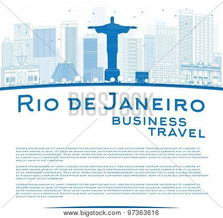 Outline Rio de Janeiro skyline with blue buildings and place for text. Business travel concept. Vector illustration