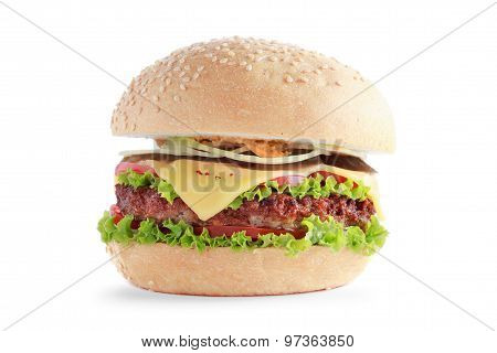 Cheeseburger with Beef and Tomatoes Isolated on White Background