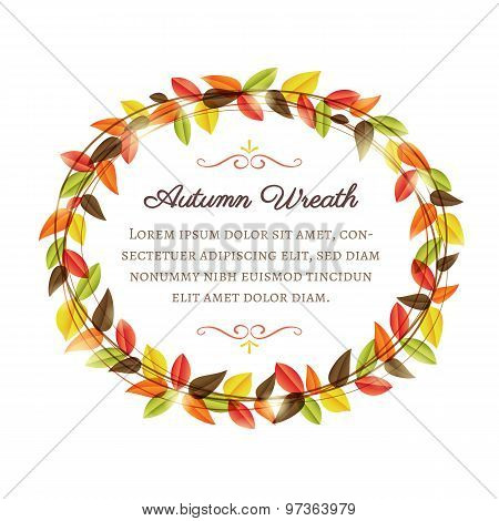 Wreath With Autumn Leaves On A White Background