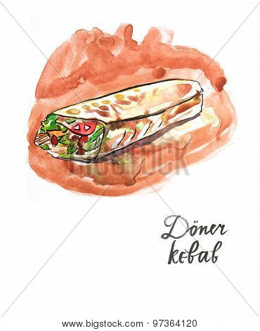 Watercolor Doner Kebab (kebap)