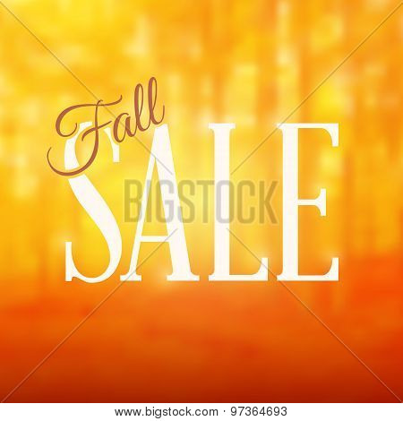 Square Shaped Fall Sale Sign With A Blurred Forest Background