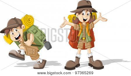 Cute cartoon kids in explorer outfit