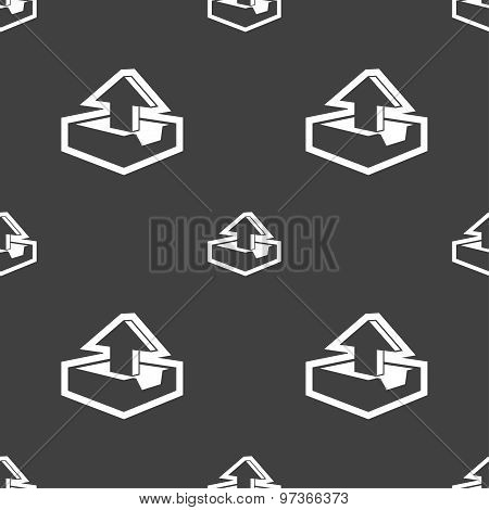 Upload Icon Sign. Seamless Pattern On A Gray Background. Vector